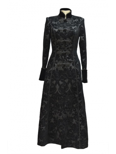 Black Printed Pattern Double-Breasted Gothic Long Coat for Women