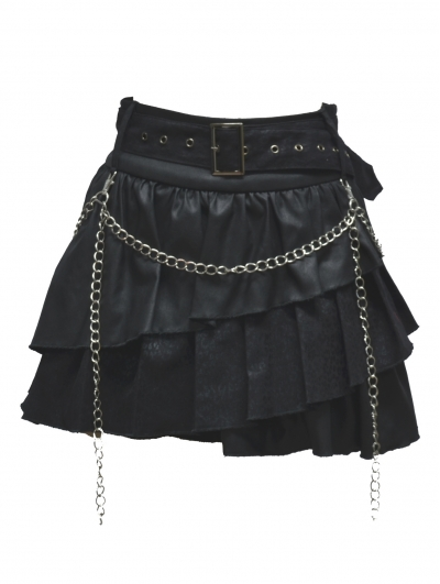 Black Gothic Punk Short Skirt