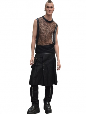 Black Net Sleeveless Gothic Shirt for Men