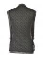 Black Net Sleeveless Gothic Shirt for Men