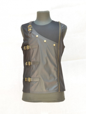 Black Sleeveless Buckle Belt Gothic Top for Men