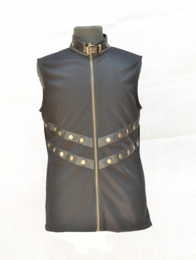 Black Sleeveless High Collar Gothic Top for Men