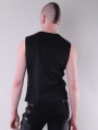 Black Sleeveless Leather Buckle Belt Gothic Top for Men