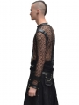 Black Net Long Sleeves Gothic Shirt for Men