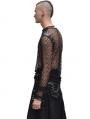 Black Net Long Sleeves Gothic Shirt for Men