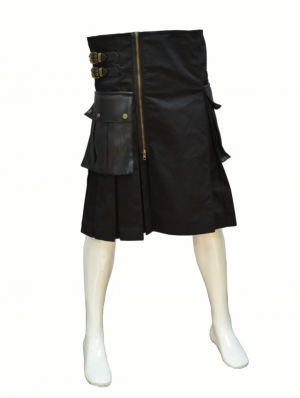 Black Buckle Belt Gothic Skirt for Men