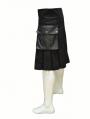 Black Buckle Belt Gothic Skirt for Men