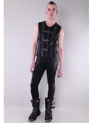 Black Buckle Belt Gothic Pants for Men