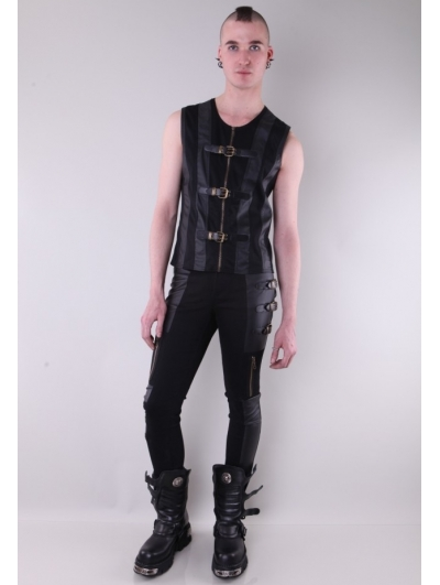 Black Buckle Belt Gothic Pants for Men