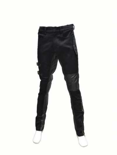 Black Leather Buckle Belt Gothic Pants for Men