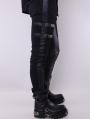 Black Leather Buckle Belt Gothic Pants for Men