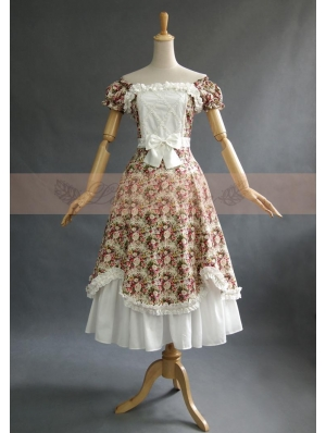 Cotton Short Sleeves Floral Vintage Classic Lolita Dress