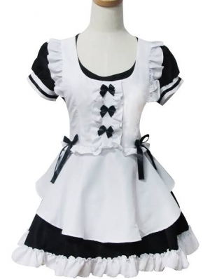 White and Black Sweet French Maid Lolita Dress