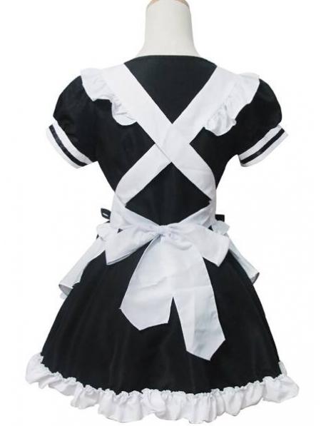 White And Black Sweet French Maid Lolita Dress