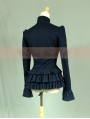 Navy Blue Long Sleeves Ruffles Gothic Jacket for Women