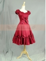 Wine Red Cotton Short Sleeves Sweet Lolita Dress