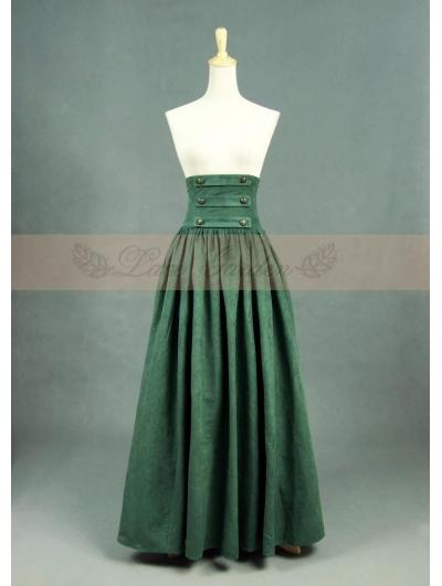 Olive Vintage High Waist Long Victorian Skirt - Devilnight.co.uk