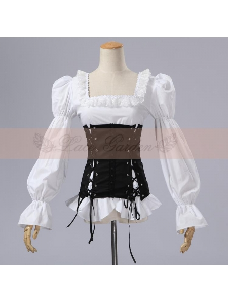 cce4d890150df0 White and Black Gothic Corset Blouse for Women - Devilnight.co.uk