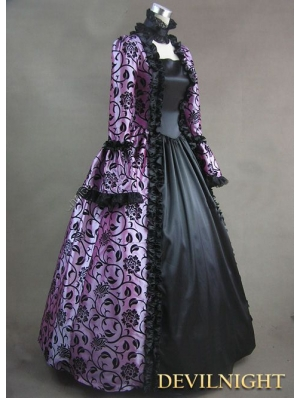 Purple and Black Marie Antoinette Masked Ball Victorian Costume