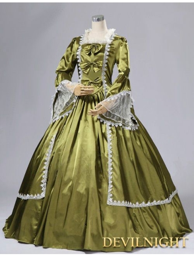 Satin Trumpet Sleeves Marie Antoinette Masked Ball Victorian Costume