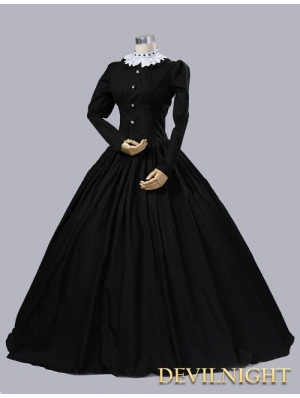 Black Cotton Gothic Victorian Queen Victoria Day Costume