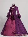 Purple Trumpet Sleeves Marie Antoinette Masked Ball Victorian Costume