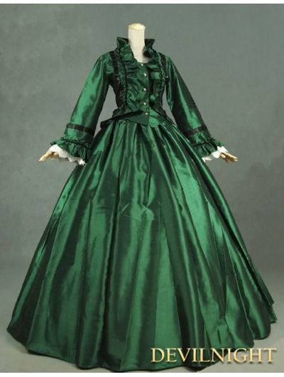 Green Victorian Day Dress with Long Sleeves