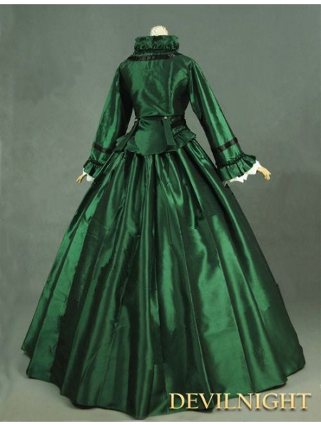 Green Victorian Day Dress With Long Sleeves Devilnight Co Uk