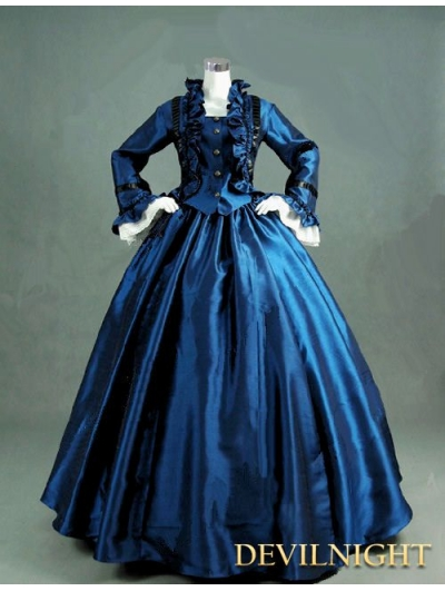 Blue Victorian Day Dress with Long Sleeves