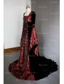 Fantasy Red and Black Velvet Celtic Medieval Gown