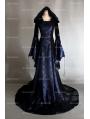 Navy Blue and Black Velvet Gothic Hooded Medieval Dress