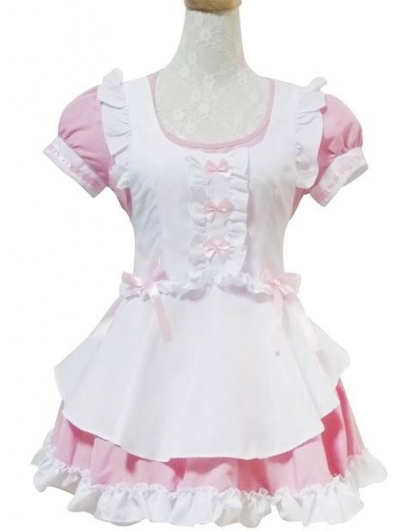 Pink and White Sweet French Maid Lolita Dress