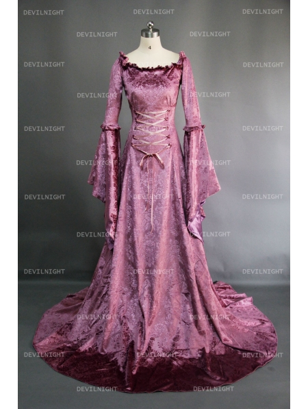 Purple Fantasy Velvet Medieval Gown - Devilnight.co.uk