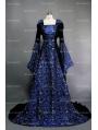 Fantasy Blue Velvet Hooded Medieval Gown