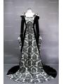 White and Black Velvet Gothic Hooded Medieval Gown