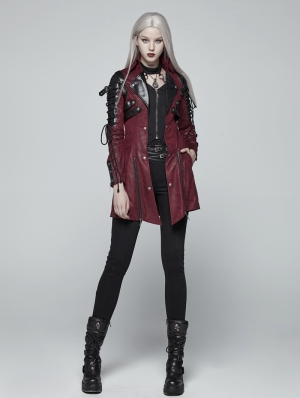 Red and Black Long Sleeves Leather Gothic Trench Coat for Women