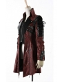 Red and Black Long Sleeves Leather Gothic Trench Coat for Women and Men
