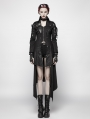 Black Long Sleeves Leather Gothic Trench Coat for Women