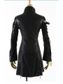 Black Long Sleeves Leather Gothic Trench Coat for Women and Men