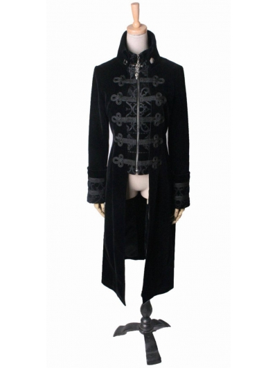 Black Gothic Wool Collar Long Cloak for Women