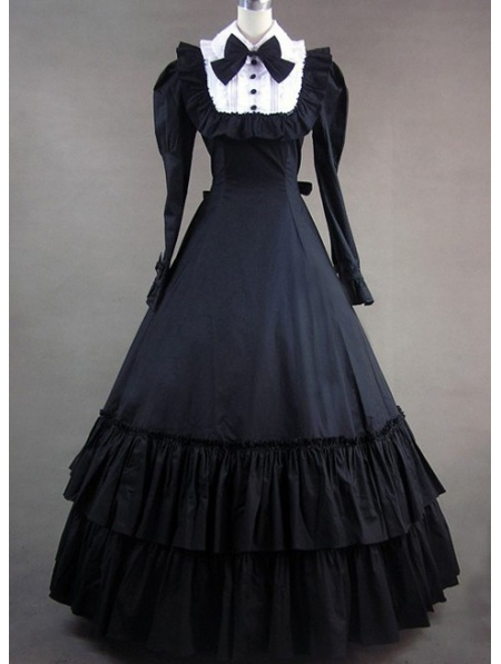 Black and White Classic Gothic Victorian Dress