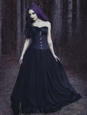 Romantic Black Gothic Corset Prom Party Dress