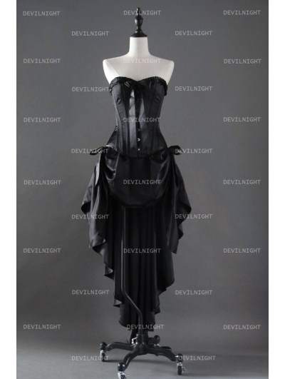 Fashion Black Gothic Corset High-Low Burlesque Prom Party Dress