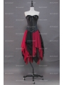 Fashion Black and Red Gothic Corset Irregular Burlesque Prom Party Dress