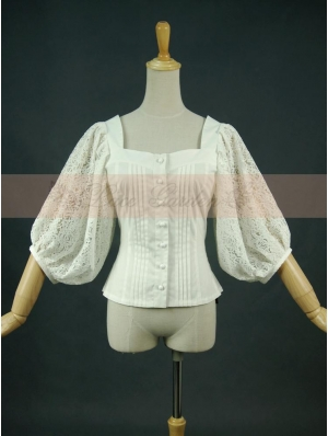 White Vintage Bubble Sleeves Blouse