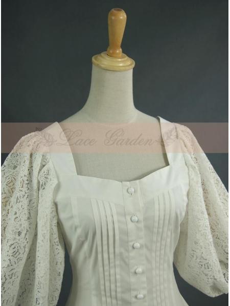 White Vintage Bubble Sleeves Blouse Devilnight Co Uk