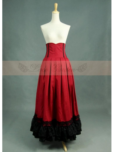 Red and Black High Waist Gothic Skirt