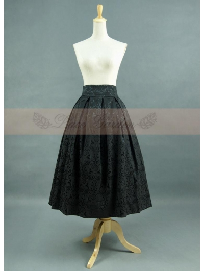 Black Pattern Satin Romantic Gothic Skirt
