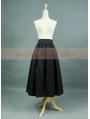 Black Pattern Satin Romantic Gothic Skirt