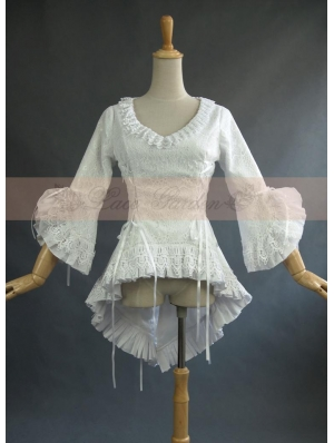 White Lace High-Low Gothic Blouse for Women